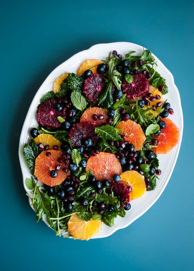 Baby Kale Salad with Oranges, Blueberries and Pomegranate | Hello Glow