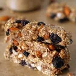 Gluten-Free No Bake Almond Blueberry Granola Bars + How to Make Almond Butter