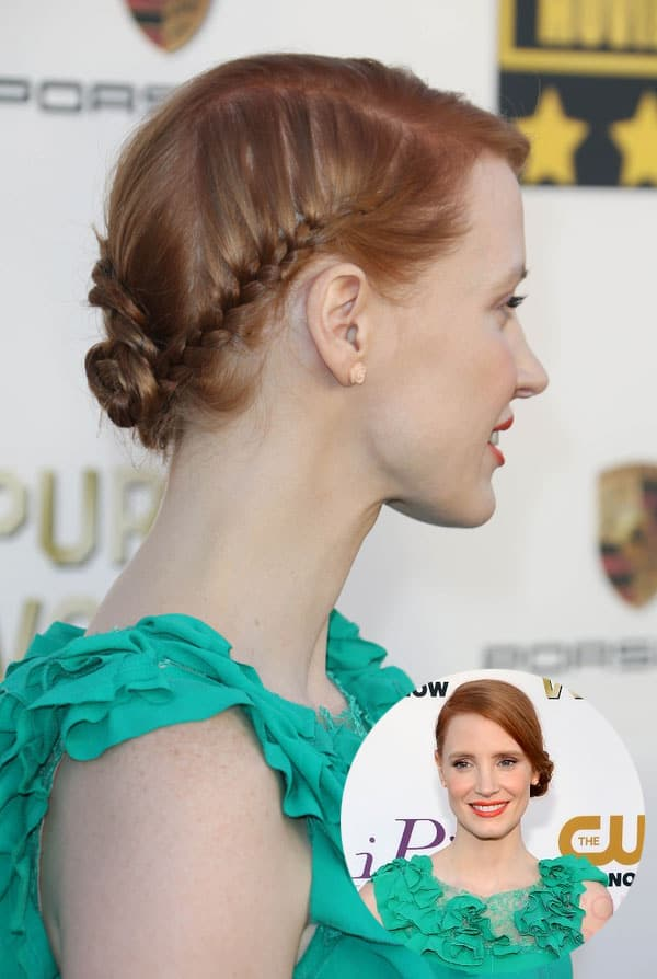 Jessica Chastain's low side braid