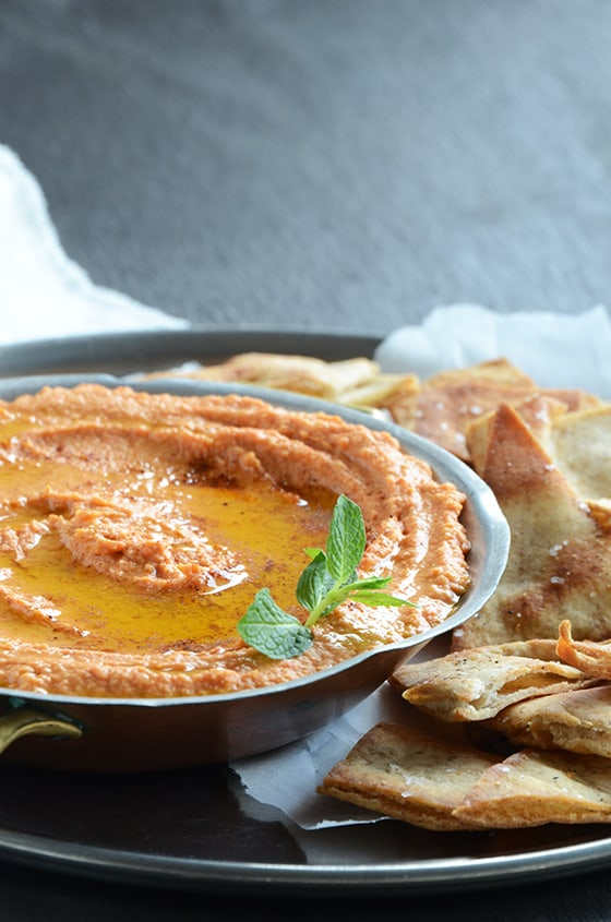 Red Pepper Hummus with Baked Pita Chips