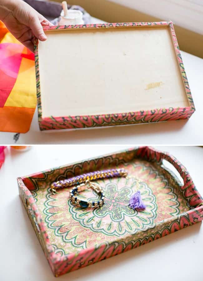 DIY Jewelry Tray Using Old Scarves | Hello Glow