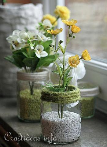 Rocks + twine vase