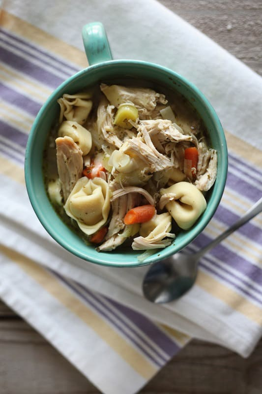 Chicken pesto tortellini soup