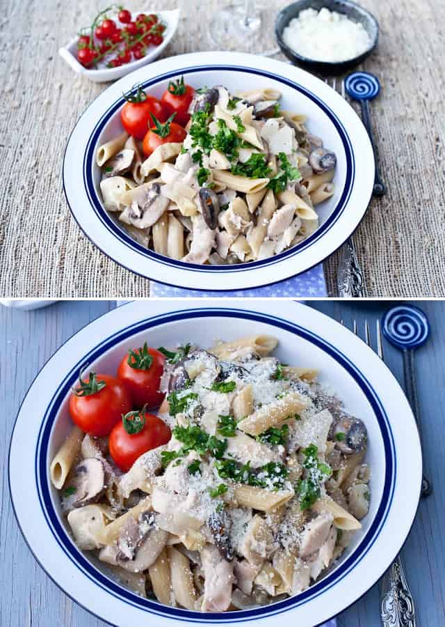 Penne with chicken & mushrooms