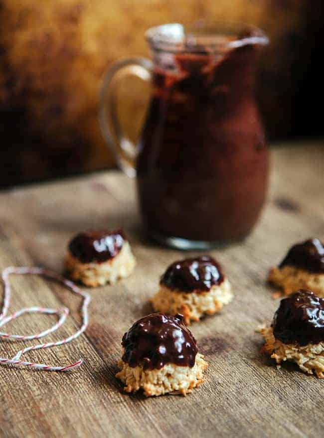 Dark Chocolate Ganache Dipped Macaroons