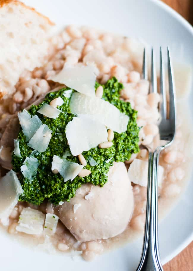 Slow Cooker Chicken with White Beans and Kale Lemon Pesto