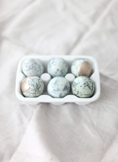 Gold dipped marbled eggs