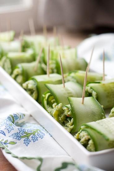 Pesto Shrimp Cucumber Rolls