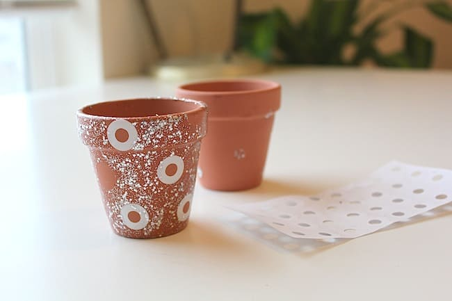 DIY Stencilled Mini Pots with Nail Polish | Hello Glow