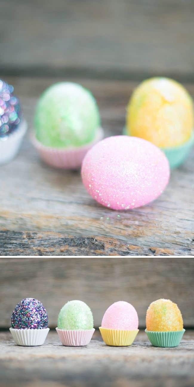 DIY Fuzzy Glitter Easter Eggs - Henry Happened