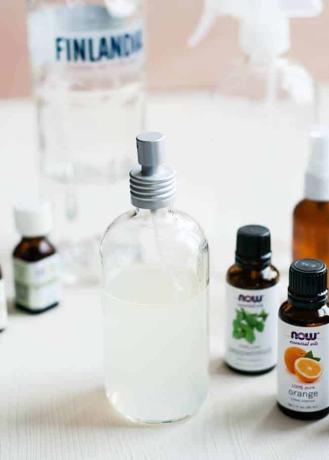 An easy essential oil room spray made from three simple ingredients to keep your home smelling fresh. Freshen your home without the chemicals! | HelloGlow.co