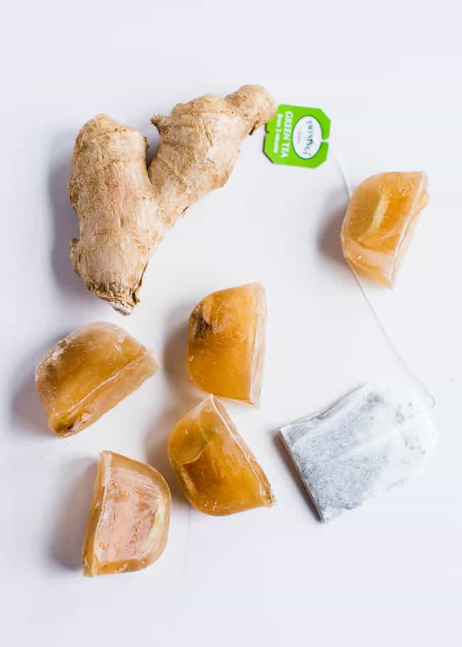 11 Amazing Beauty Uses for Ginger - Ginger Green Tea Ice Cubes