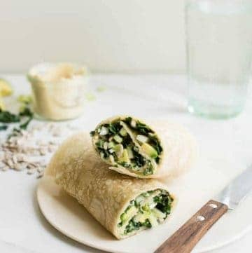 Protein Packed Kale, Avocado + Hummus Wrap | HelloGlow.co