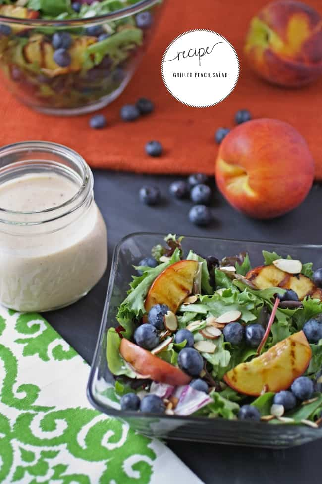 Grilled Peach Salad with Creamy Goat Cheese Dressing