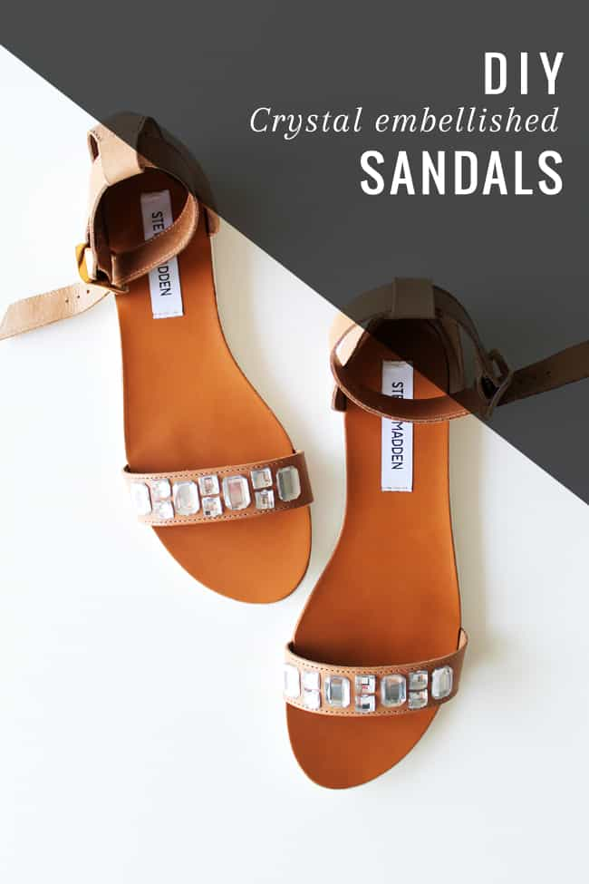 DIY Crystal Embellished Sandals | HelloGlow.co