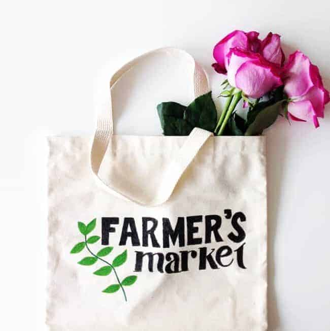 Farmer's Market DIY Tote Bag (+ Free Stencil Template Download)