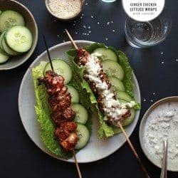 Ginger Chicken Lettuce Wraps with Tzatziki Sauce