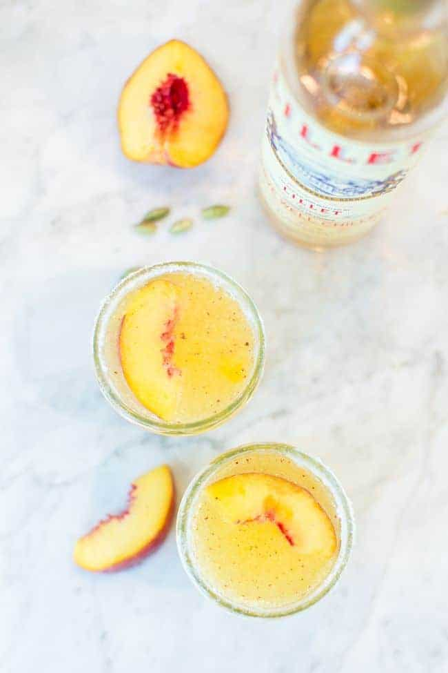 Peach-Apricot Lillet Fizz with Cardamom Sugar | HelloNatural.co