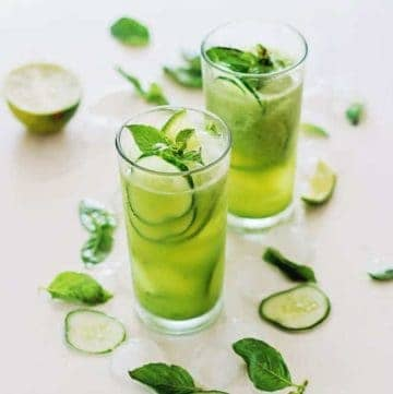 Cucumber Daiquiri with Basil Agave Syrup | HelloGlow.co
