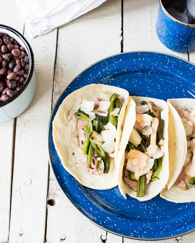 Grilled Pork Tenderloin Tacos with Chipotle Cream | A Week of Meals from 1 Slow Cooker Recipe