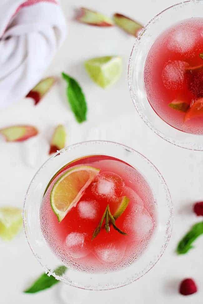 Raspberry Rhubarb Margarita | HelloGlow.co