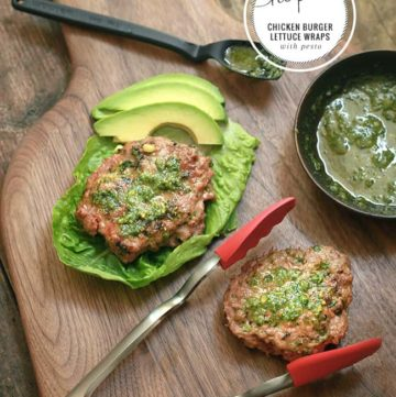 Chicken Burger Lettuce Wraps with Non-Dairy Pesto | HelloGlow.co