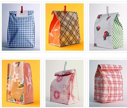 Bright Oil Cloth Lunch Bags