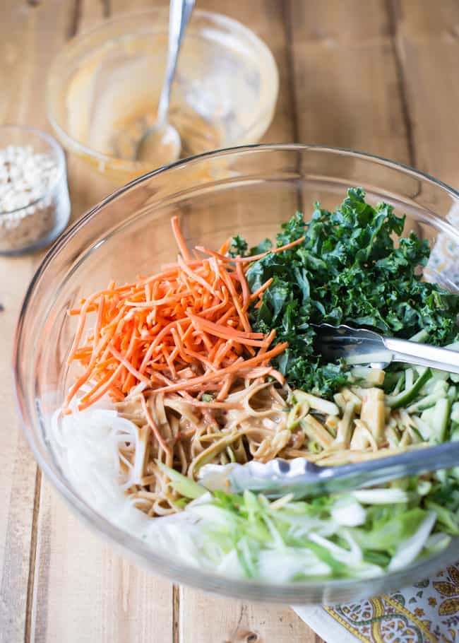 rice noodles with veggies and peanut sauce
