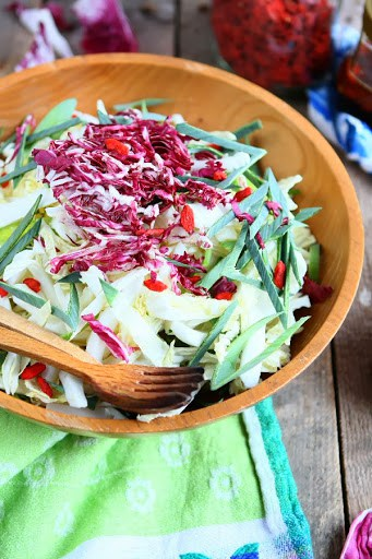 Chinese Cabbage and Leek Salad with Goji Berry Vinaigrette