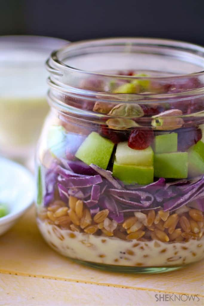 Mason Jar Salad with Farro, Cabbage and Apples