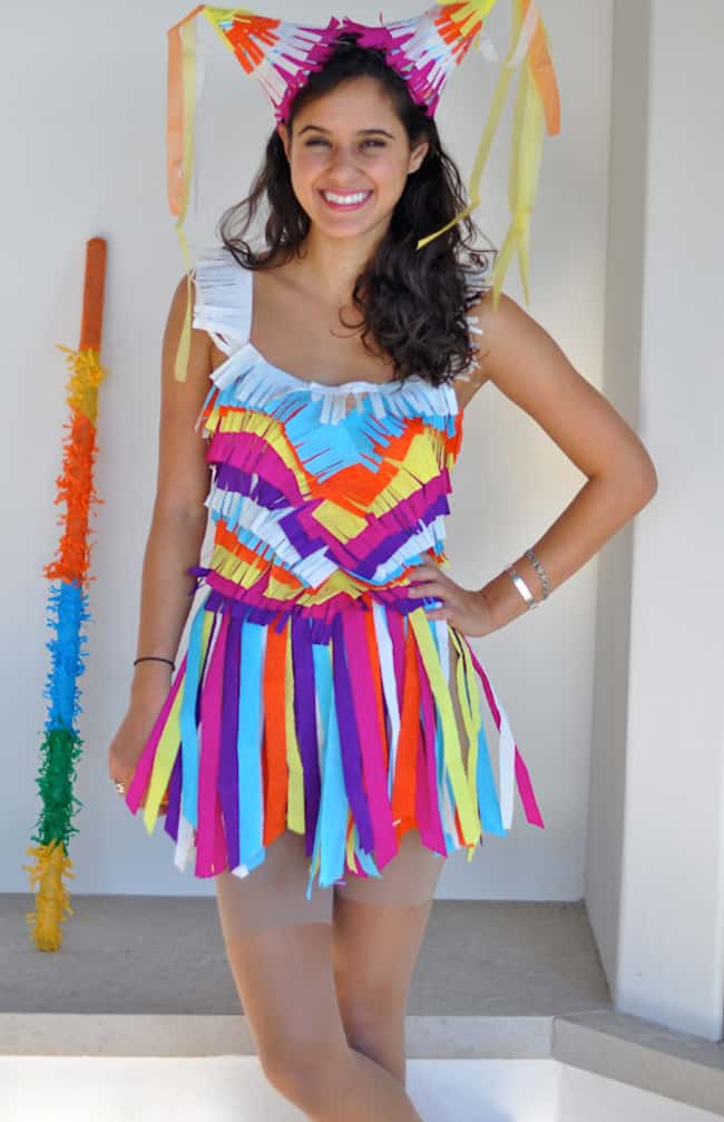 101 easy diy halloween costume ideas helloglow wear a nude or bright colored leotard a long sleeve t shirt and leggings will do then hot glue colorful crepe paper streamers all over your clothes solutioingenieria Images