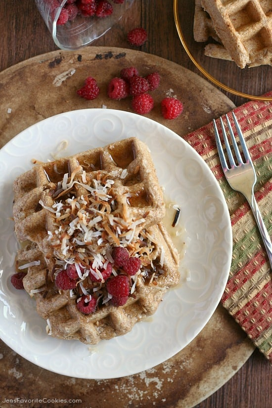 Whole grain coconut waffles