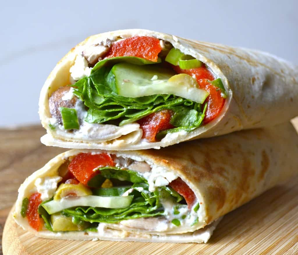 Greek Salad Wrap with Roasted Red Peppers