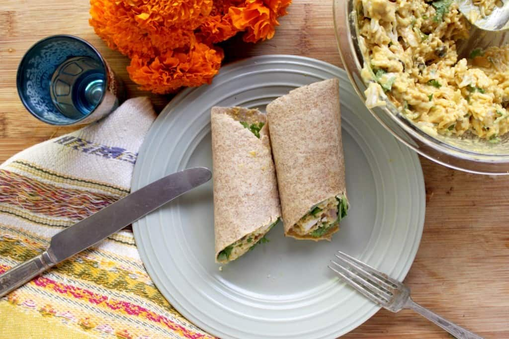 Curry Chicken Wraps with Coconut Yogurt