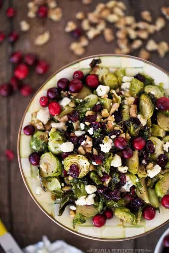 Maple Roasted Brussels Sprouts with Walnuts, Blue Cheese, and Cranberries