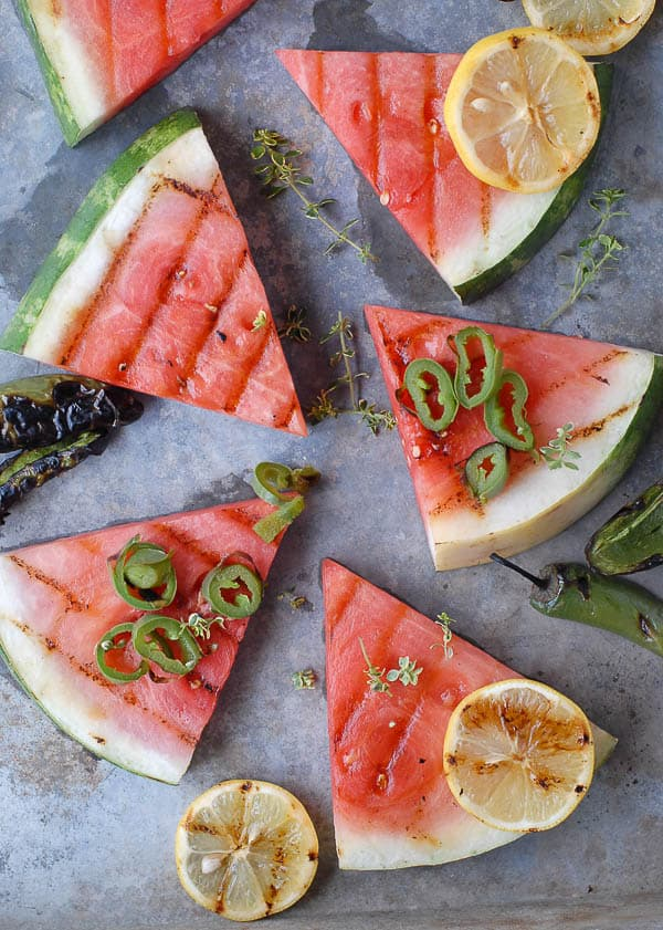 Grilled Watermelon with Smoked Salt and Jalapeno Rings
