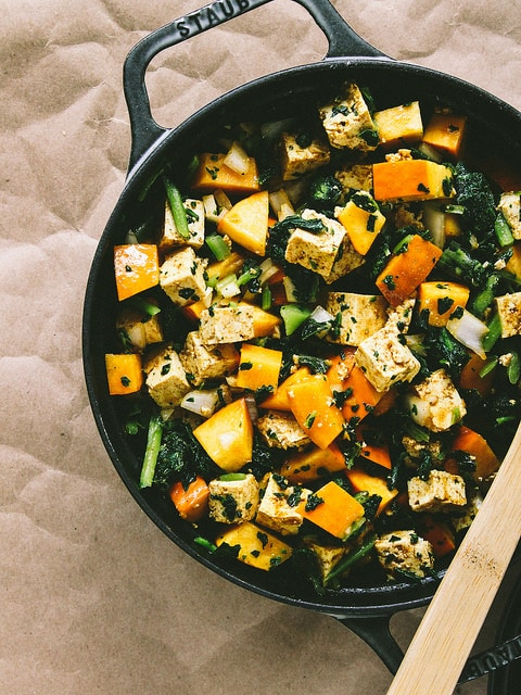 Baked Pumpkin and Tofu with Kale