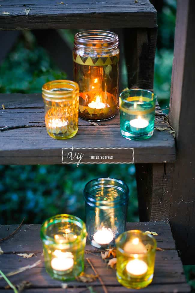 DIY tinted votives | Hello Glow