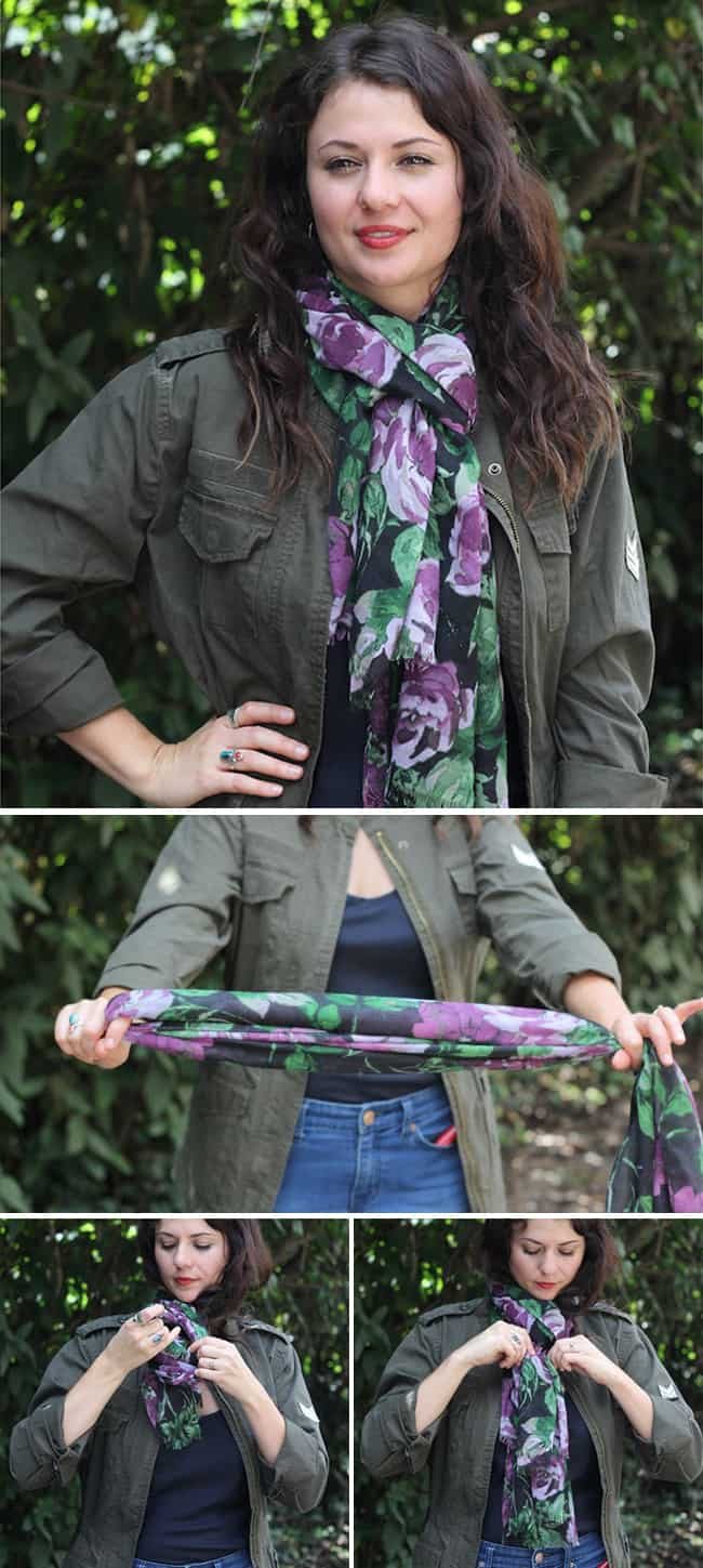 Classic Loop | 19 stylish ways to tie a scarf | HelloGlow.co