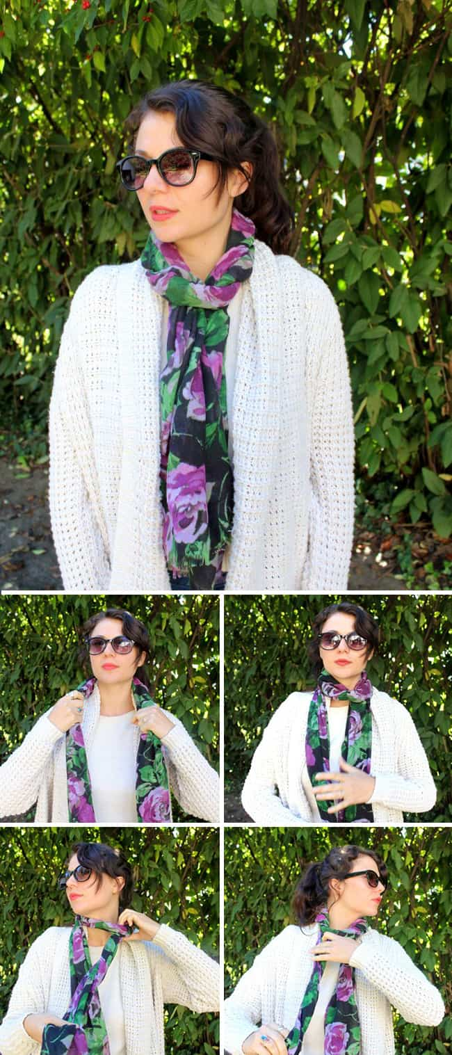 Rolled Loop | 19 stylish ways to tie a scarf | HelloGlow.co