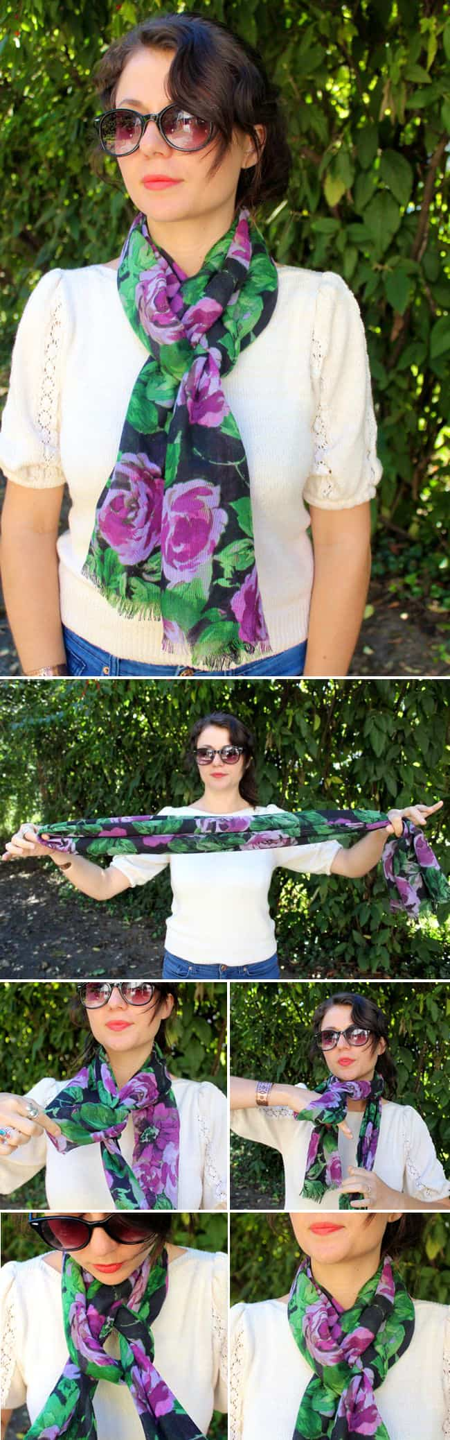 French Knot | 19 ways to tie a scarf | HelloGlow.co