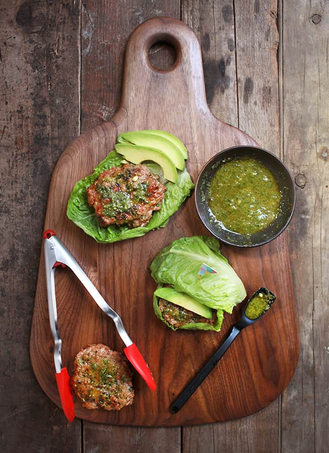 Chicken Burger Lettuce Wraps with Dairy-Free Pesto | Hello Glow
