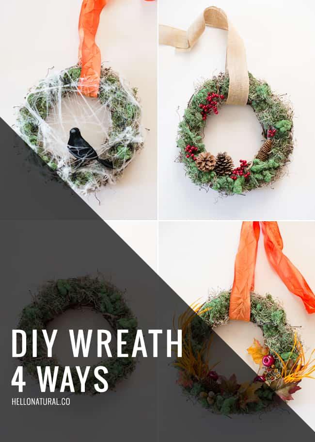 DIY Wreath 4 Ways   HelloNatural.co
