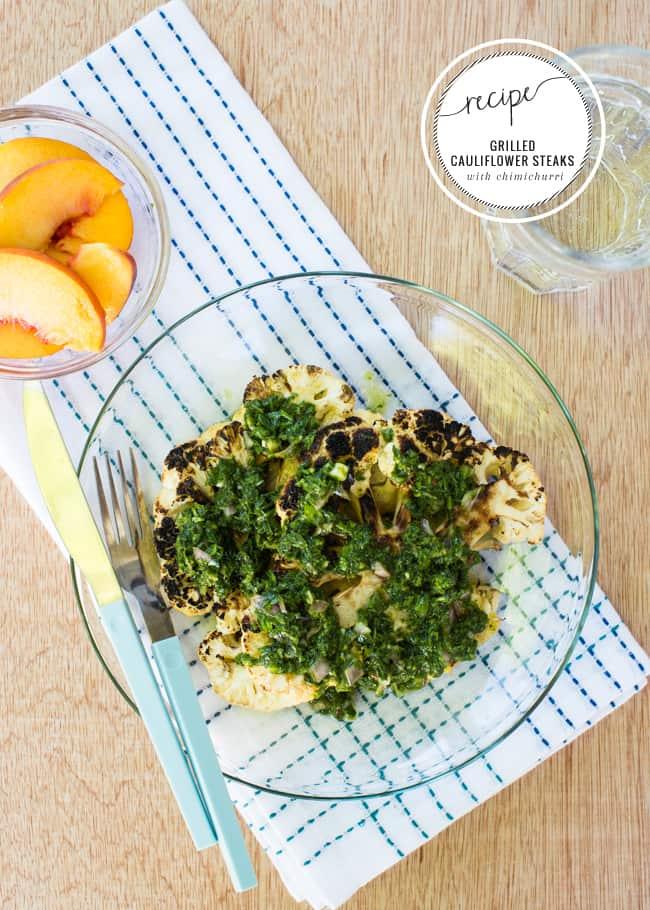 Grilled Cauliflower Steaks with Chimichurri Recipe