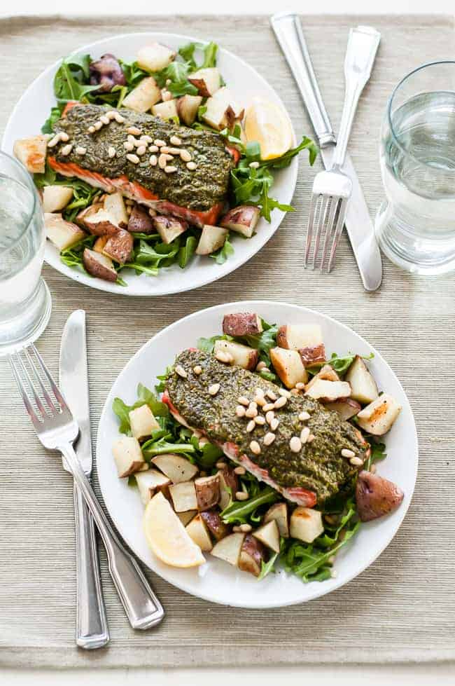 Pesto Baked Salmon from Hello Glow