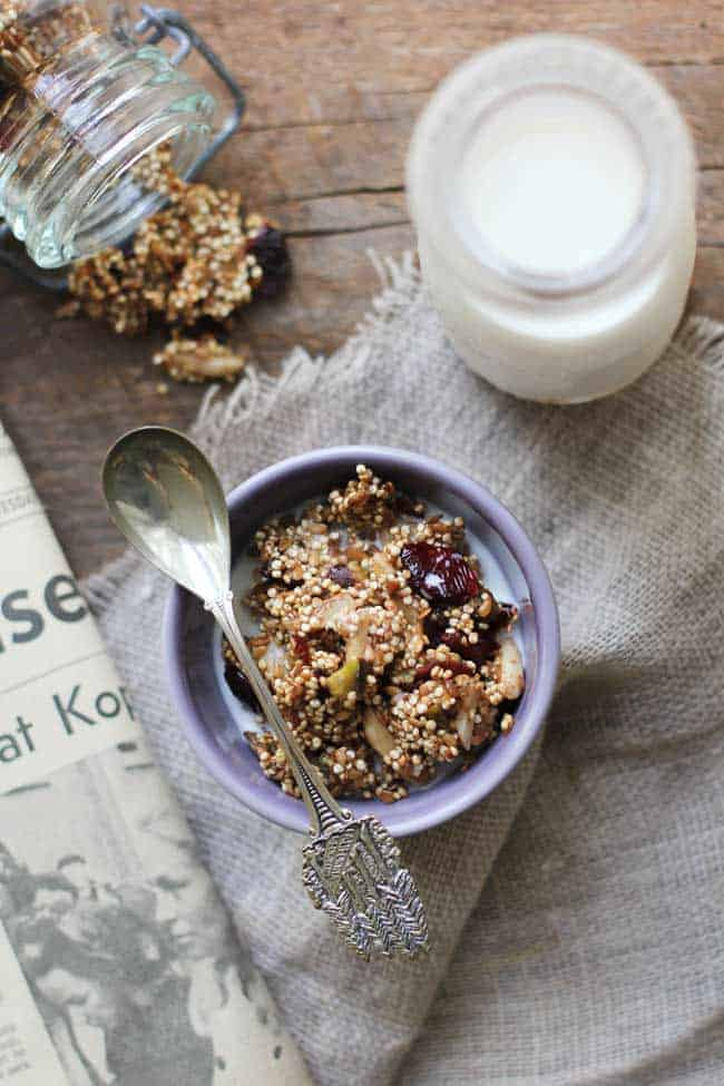 Quinoa granola with cranberry and pistachio