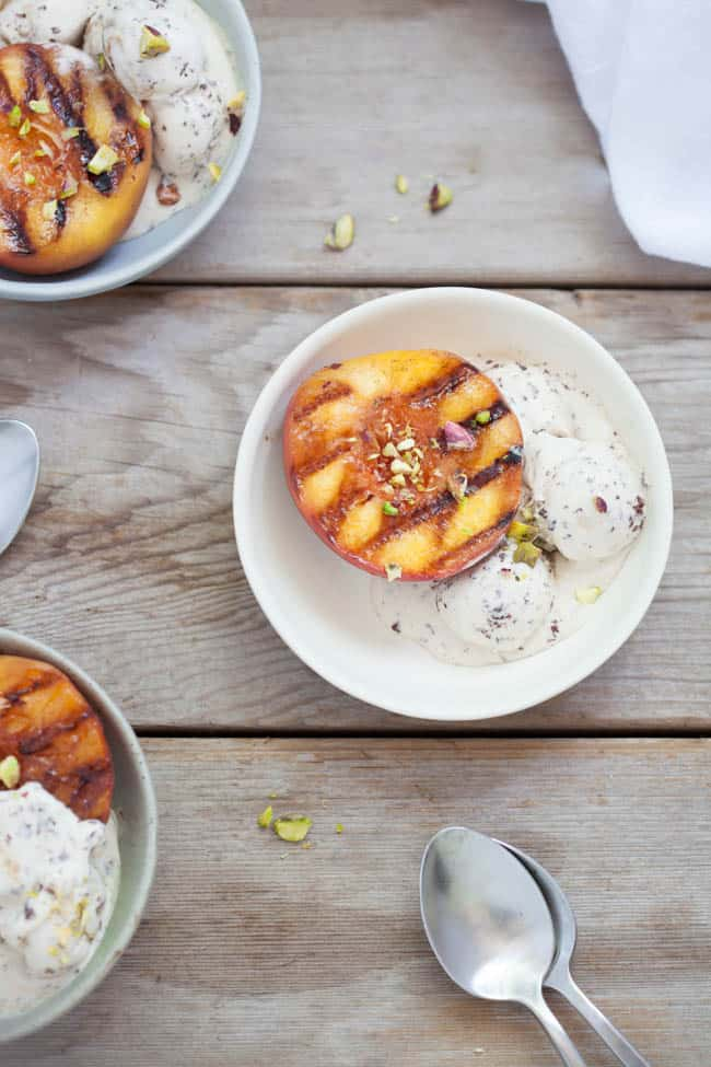 Grilled Peaches With Honey Almond Yogurt