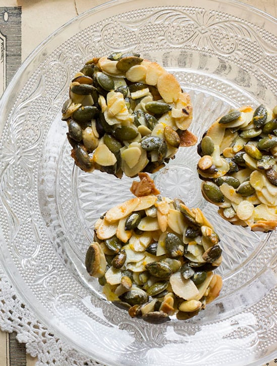 Orange, Almond, and Pumpkin Seed Florentines