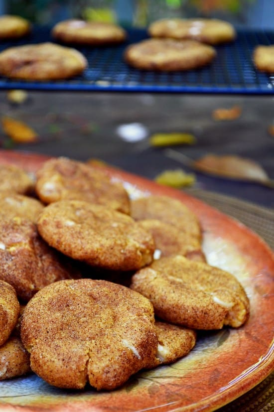 White Chocolate Chip Pumpkin Snickerdoodles