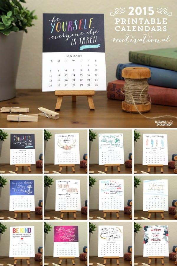 Desk calendar printables